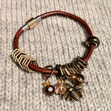 Load image into Gallery viewer, Bronze beekeeper leather stitchmarker bangle
