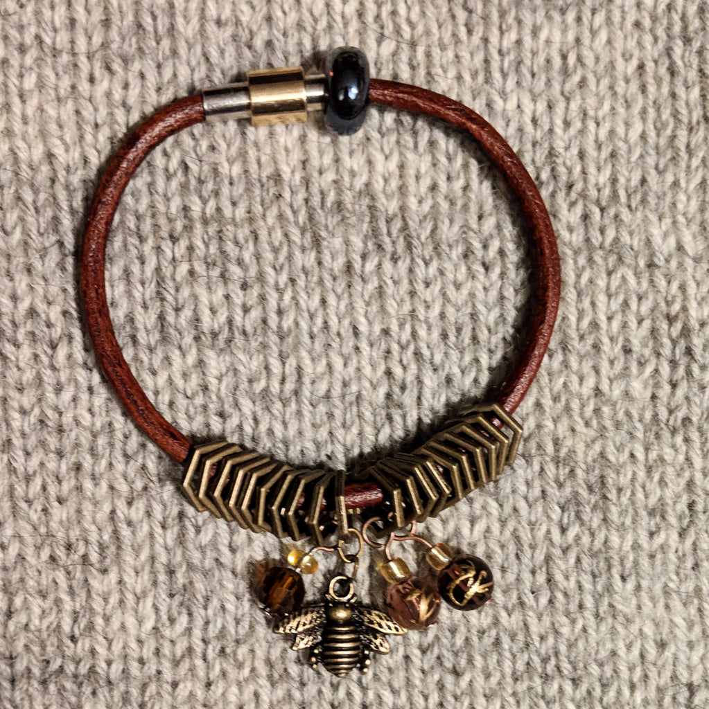 Bronze beekeeper leather stitchmarker bangle