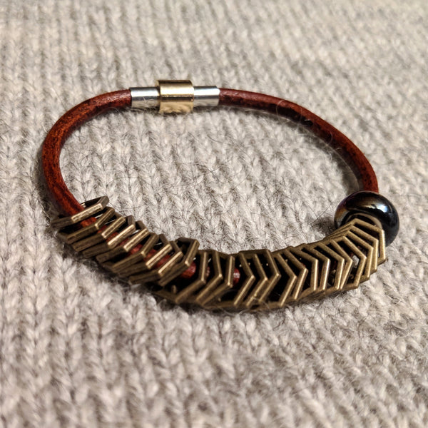 Bronze hexagon leather stitchmarker bangle