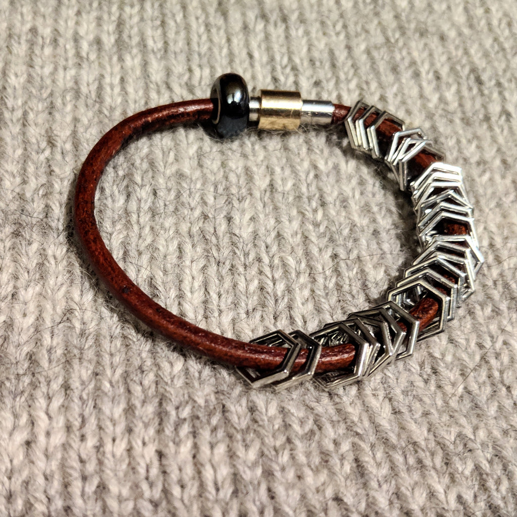 Silver hexagon leather stitchmarker bangle