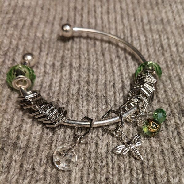 Silver beekeeper stitchmarker bangle