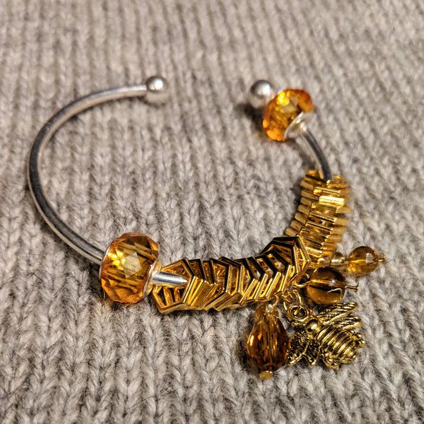 Gold beekeeper stitchmarker bangle
