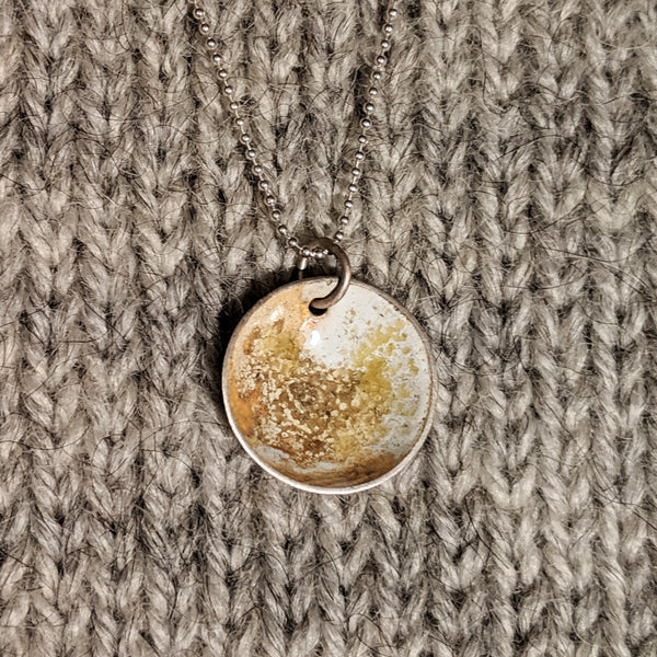 Abstract enamel pendant - ochre