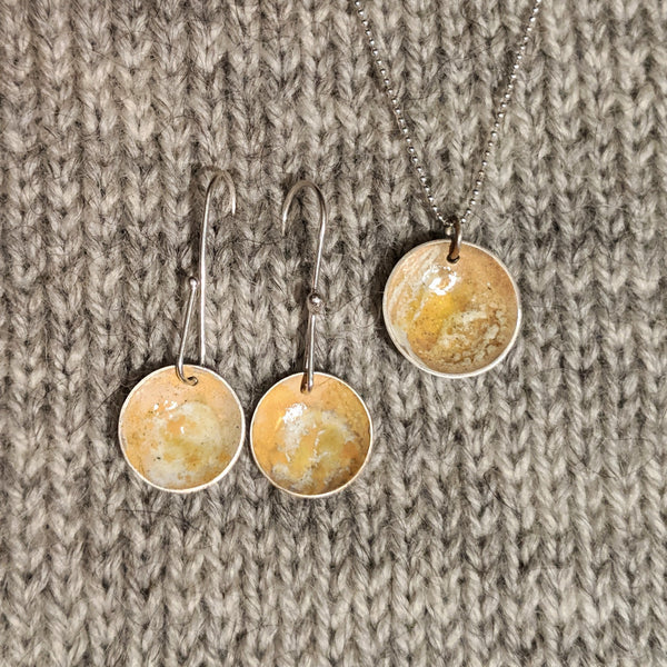 Abstract enamel earrings & pendant - ochre