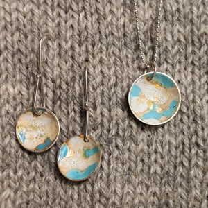 Abstract enamel earrings & pendant - sky