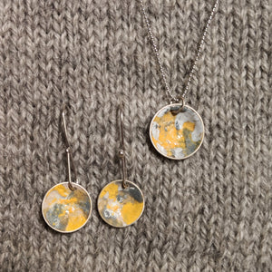 Abstract enamel earrings & pendant - grellow