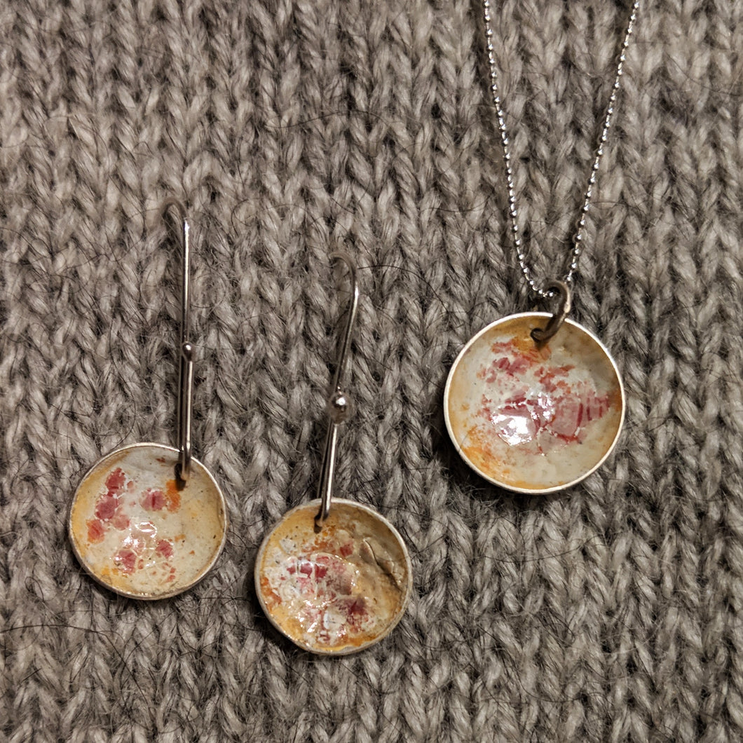 Abstract enamel earrings & pendant - rose