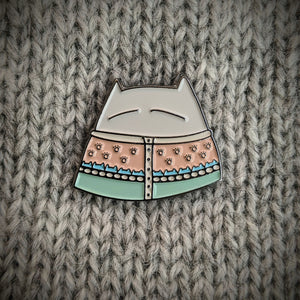 Cat Knits: Cats in knitwear enamel pins