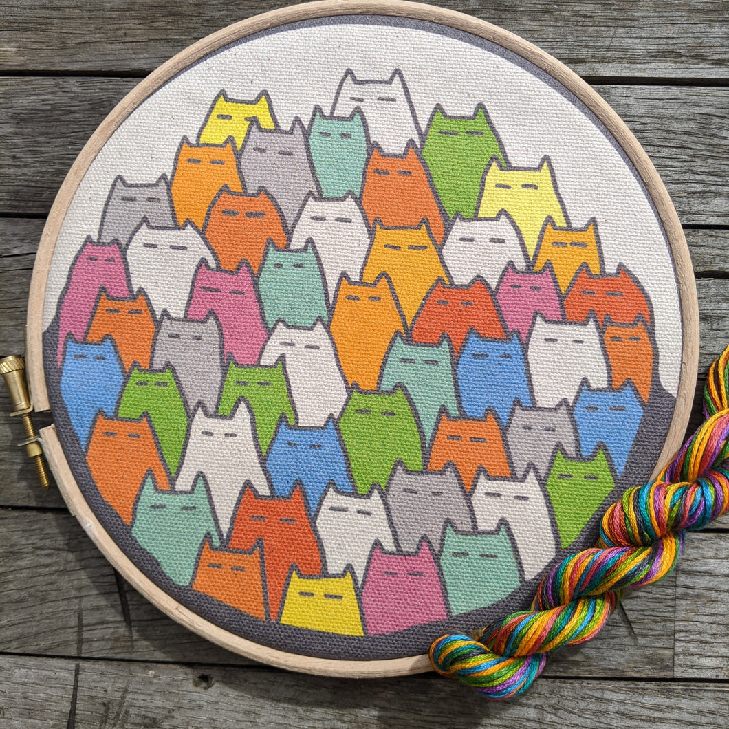 'Sinister Cats' embroidery kit in rainbow