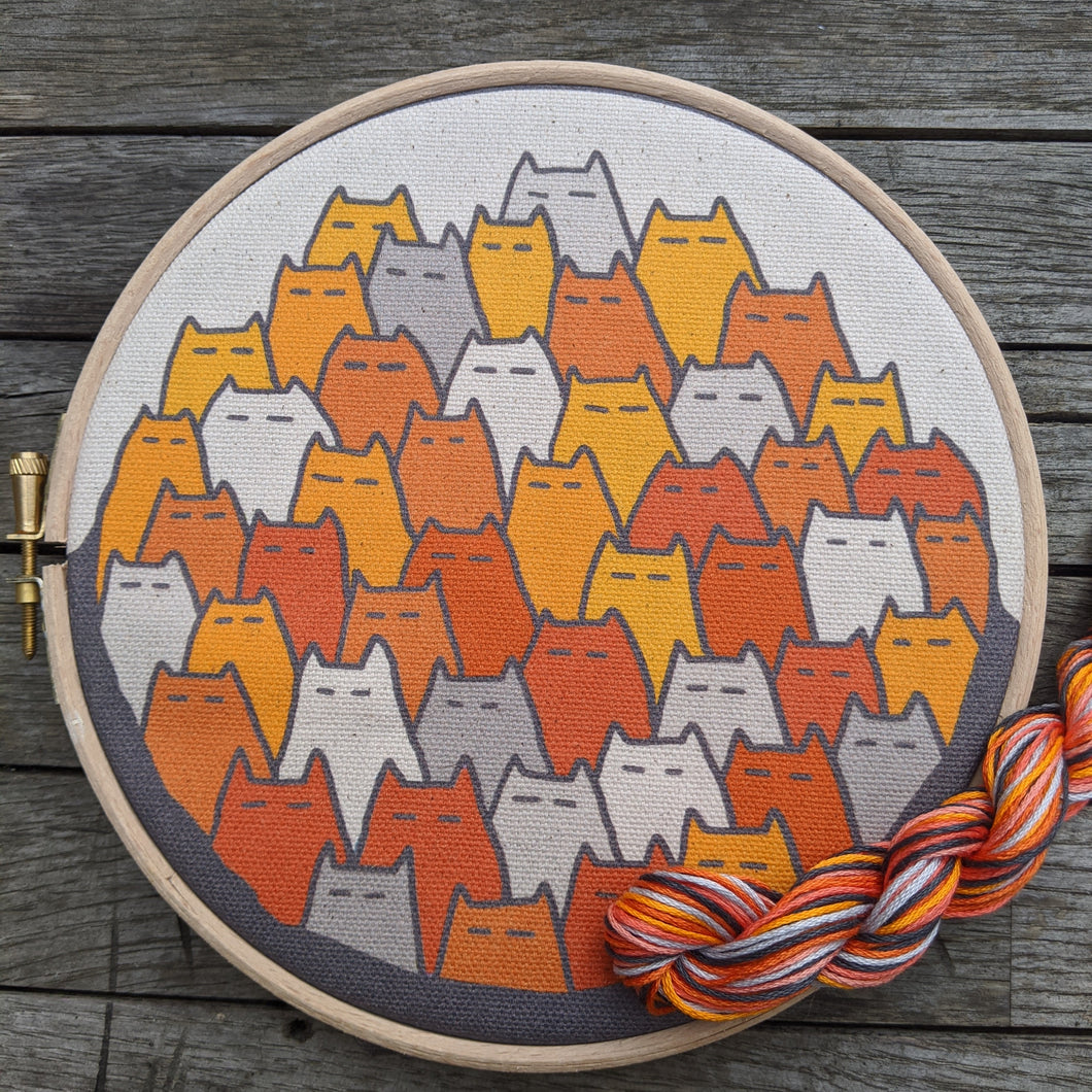'Sinister Cats' embroidery kit in tangerine