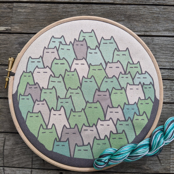 'Sinister Cats' embroidery kit in minty