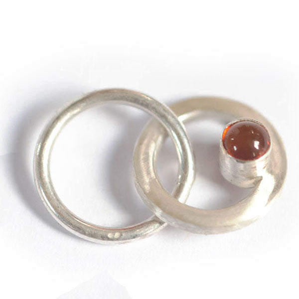 Amber silver ring stitchmarker