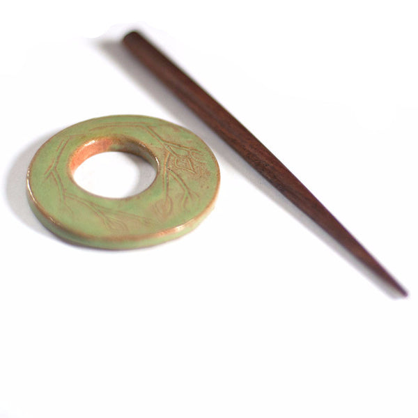 Green leaf - ceramic shawl pin