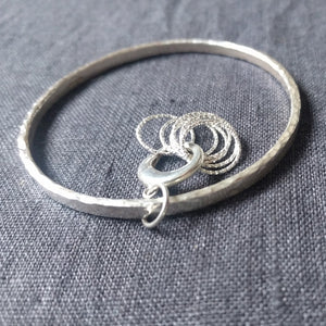 Chunky hammered stitchmarker bangle