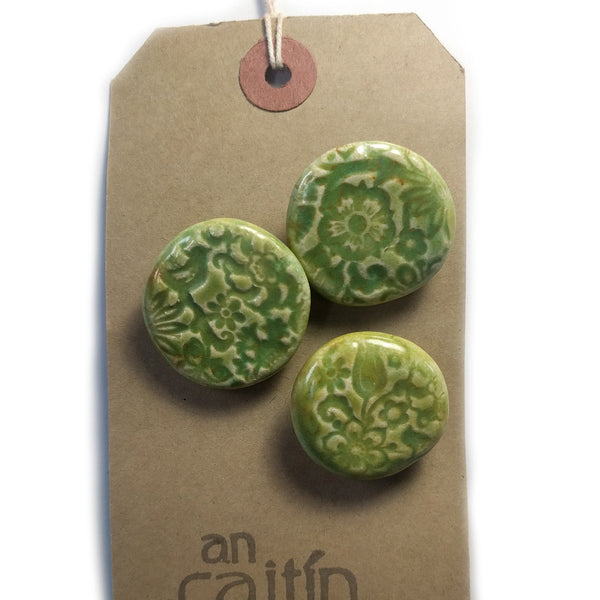 Green Lace ceramic buttons - large
