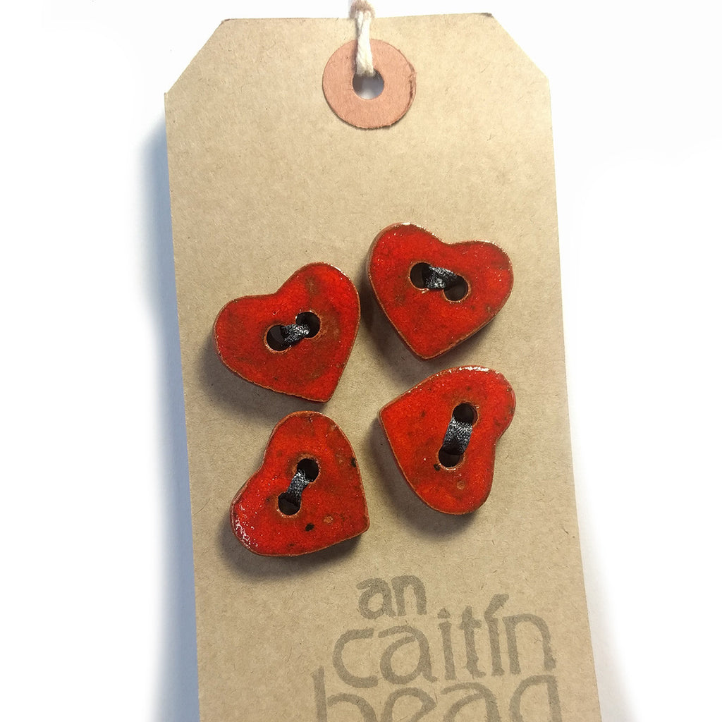 Red Heart ceramic buttons