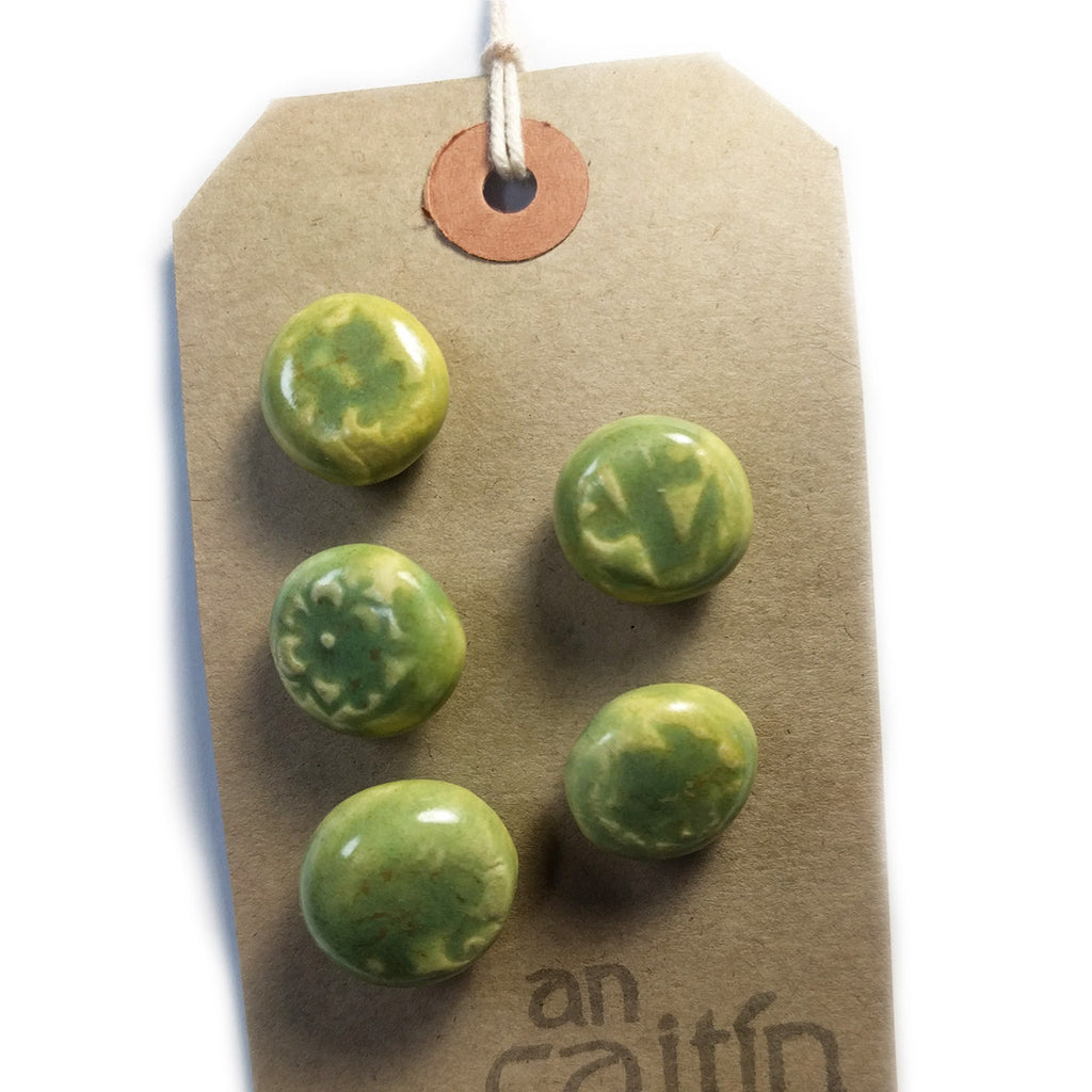 Green Lace ceramic buttons - small