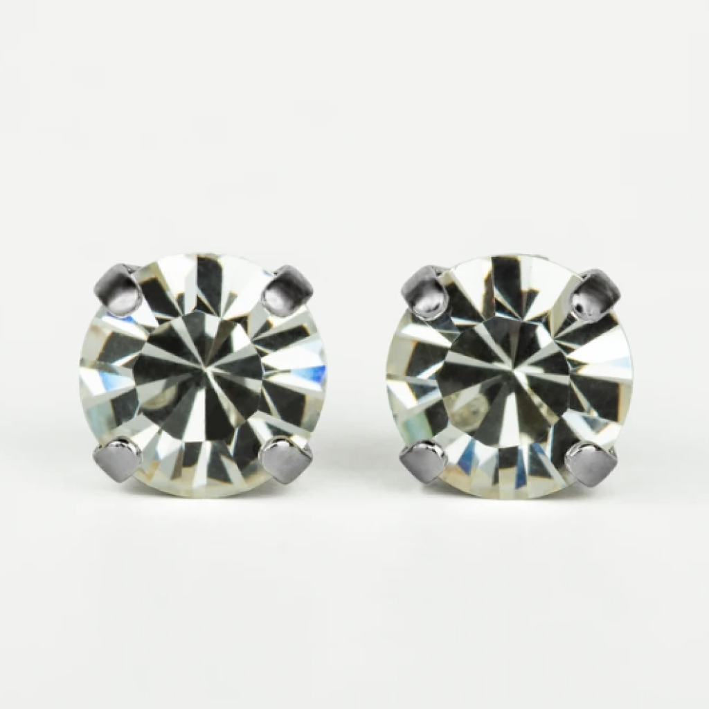 Mariana Rhodium Stud Earrings in Clear