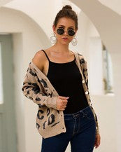 Open Front Leopard Knit Casual Coat