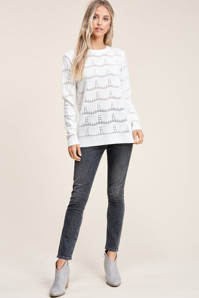 Ivory Sweater Pointelle Detailed