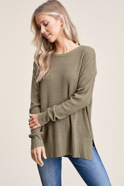 Waffle Knit Top Olive