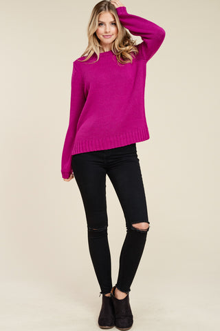 Magenta Puffy Sleeve Sweater
