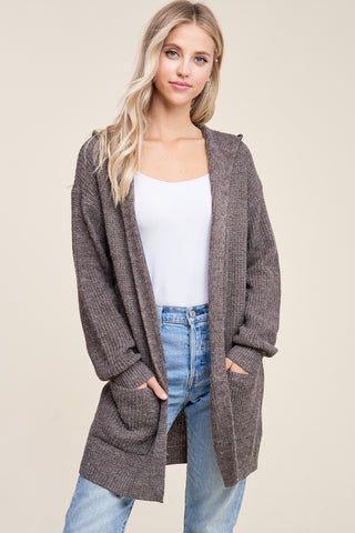 Hooded Cardigan Heather Brown