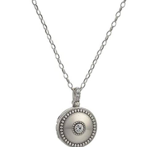 Brighton Twinkle Small Round Locket Necklace Silver