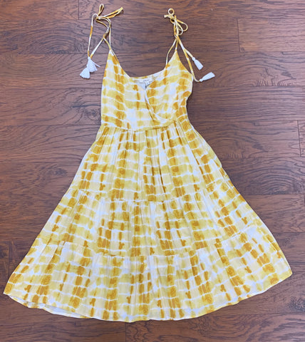 Yellow Tie Dyed Tiered Sun Dress