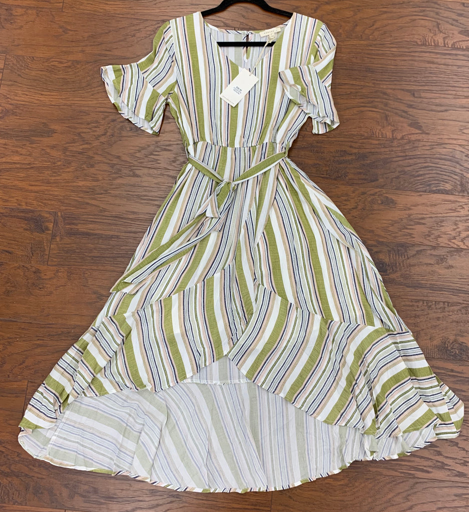 Sage Green Striped Ruffled Tie Waist Dress