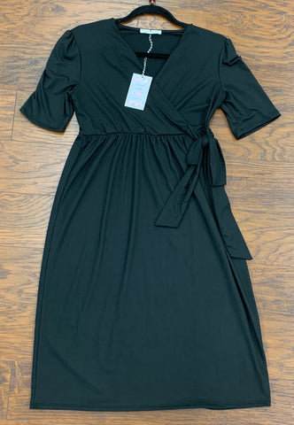 Black Short Sleeve Dress Tie Waist