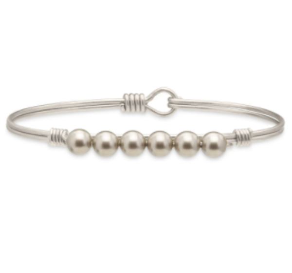Luca + Danni Crystal Pearl in Platinum Bangle Bracelet