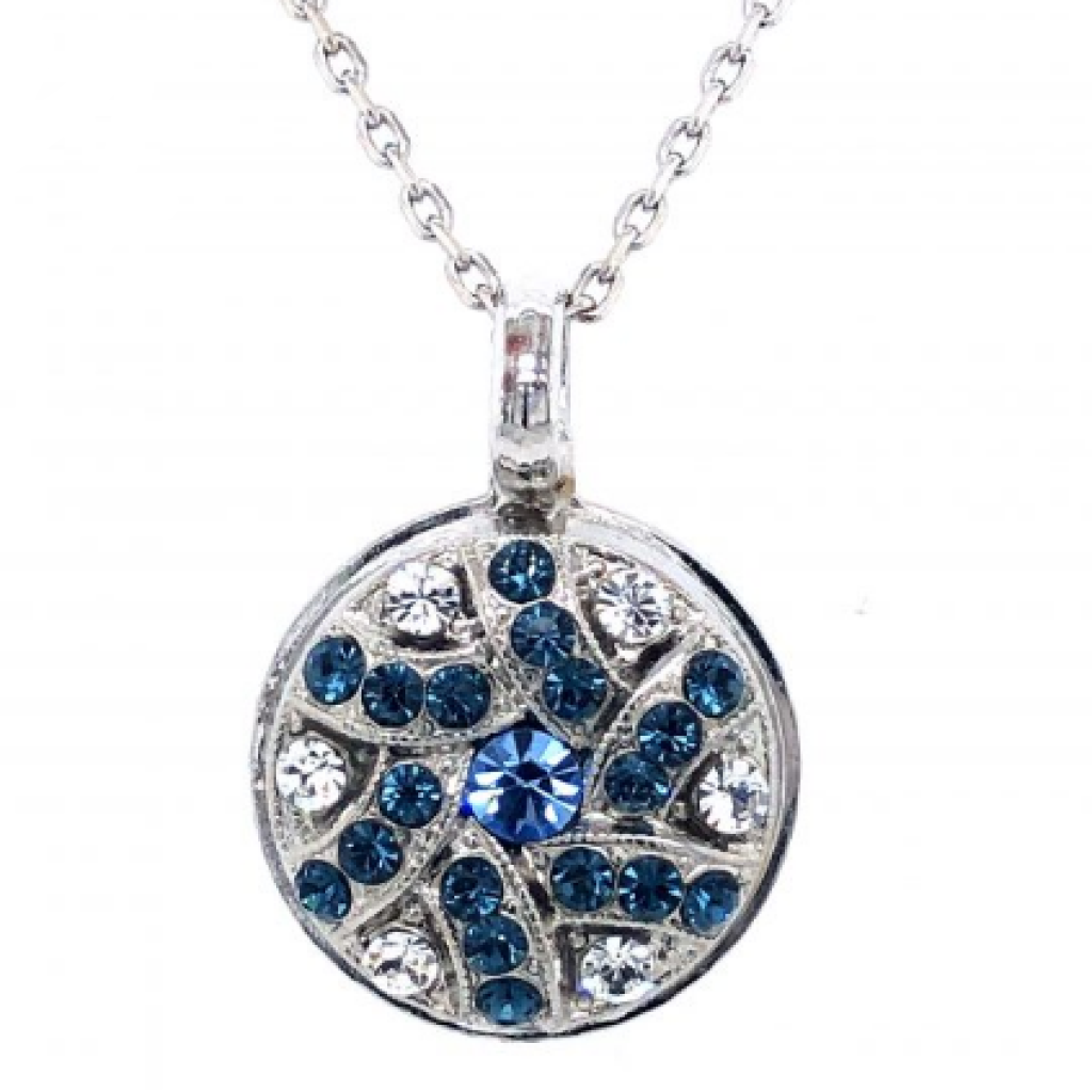 "Mariana 5059/5 Tree of Life Necklace ""Montana Blue"" and Clear Crystal Rhodium Plated"