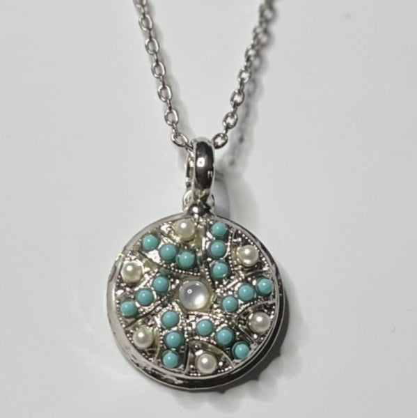 Mariana 5059/5 Tree of Life Necklace Turquoise and Pearl Rhodium Plated