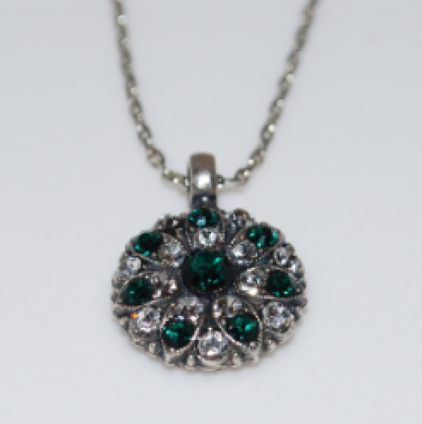 "Mariana 5212 Guardian Angel Necklace ""Emerald"" and Clear Crystal Silver Plated"
