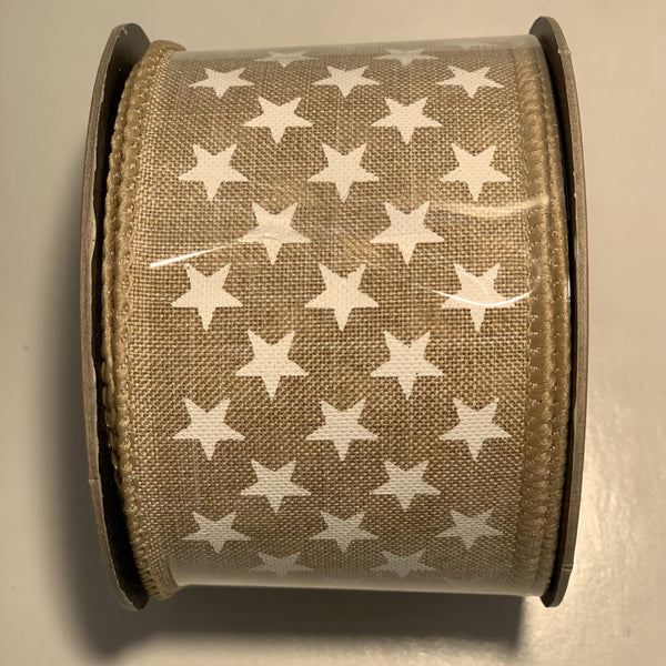 Wired Canvas Ribbon by d. stevens 10 yds x 2.5 inch Small White Stars Asst
