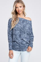 Tie Dye Off the Shoulder Knit Top Navy