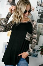 Solid Black with Camo Long Sleeve Tee w/ Pocket