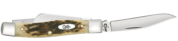 Case Amber Bone Peach Seed Jig Medium Stockman (Pen blade)