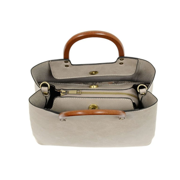 Joy Susan Angie Vintage Satchel with Wood Handle