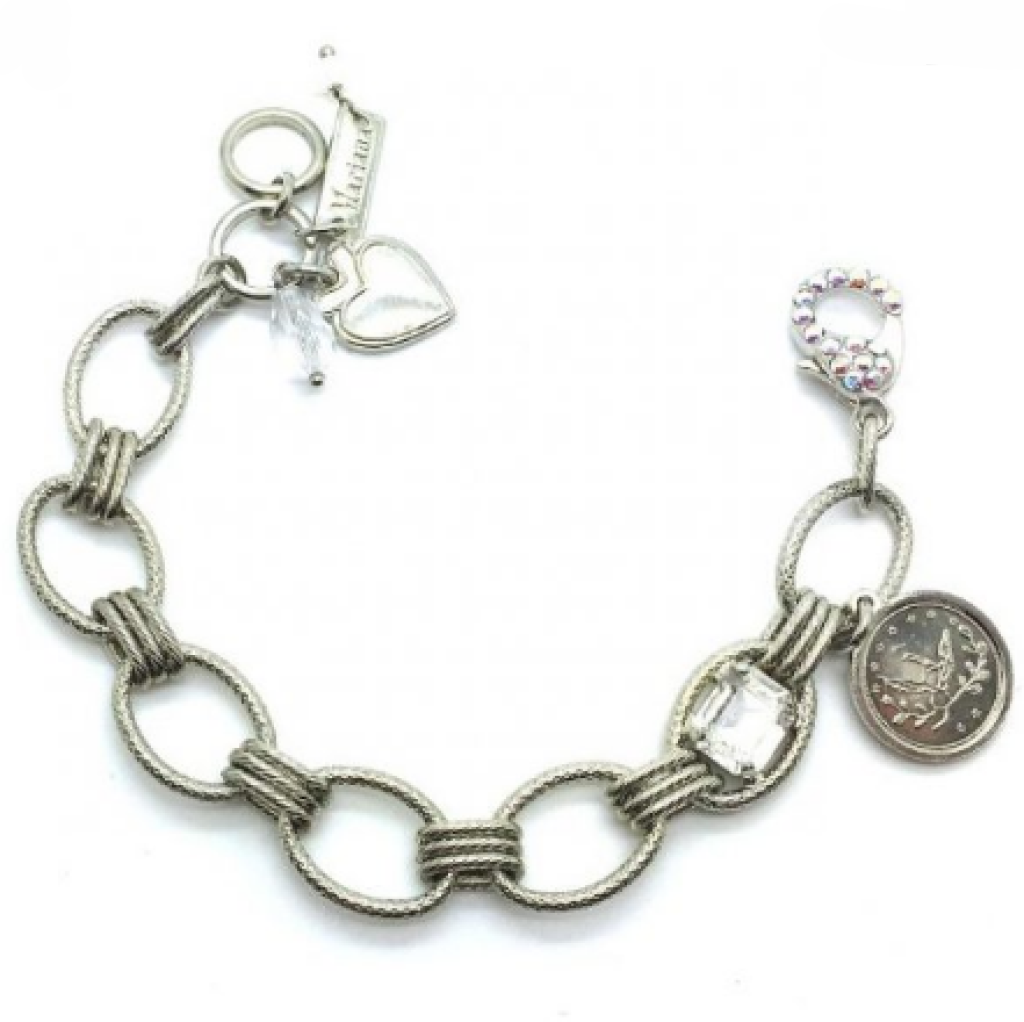 Mariana 4922 Bracelet Coin & Cushion Clear Swarovski Crystal On A Clear Day Inspiration Collection