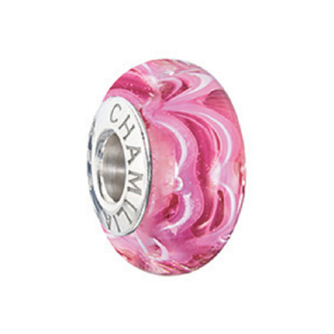 Chamilia 2015 Ltd Edition Sound Waves Murano Raspberry Beret Bead 2110-1191