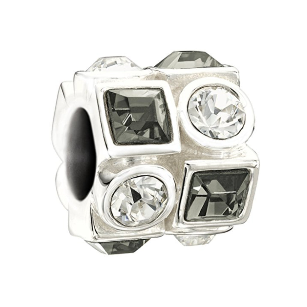 "Chamilia Charm ""Circle & Square"" (Black & White Swarovski) 2083-0403"