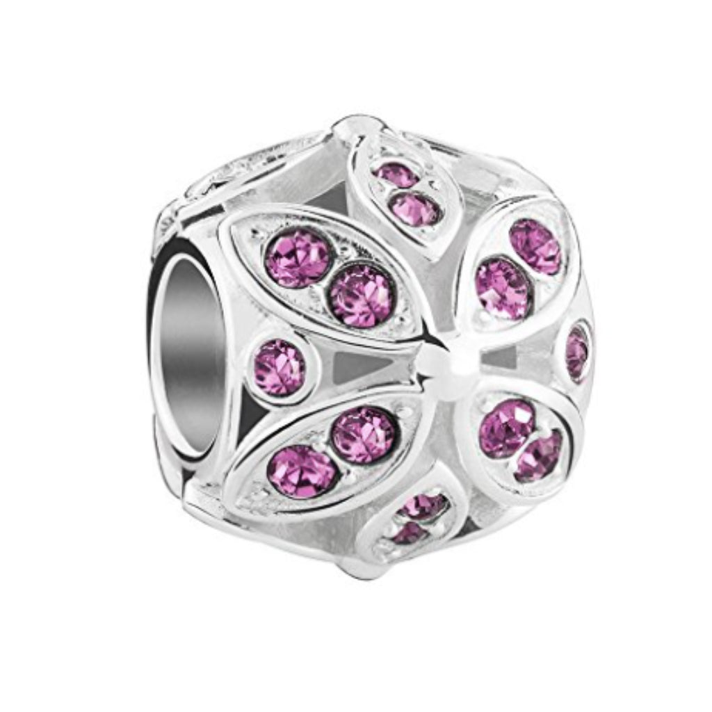 Chamilia Sterling Silver Charm Amethyst Floral Color Accent 2025-1564