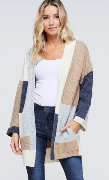 Multi Color Block Knit Cardigan