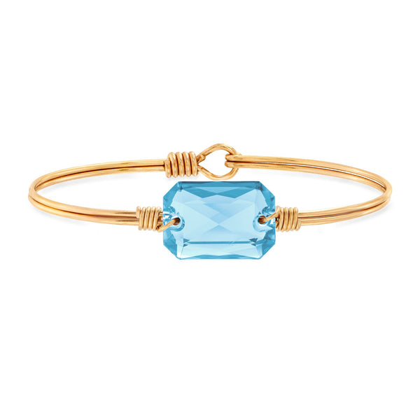 Luca & Danni Dylan Bangle Bracelet in Aquamarine