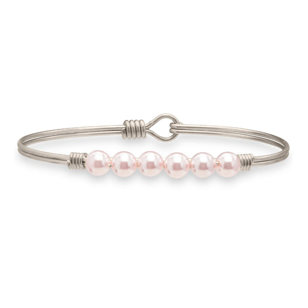 Luca + Danni Crystal Pearl in Baby Pink Bangle Bracelet