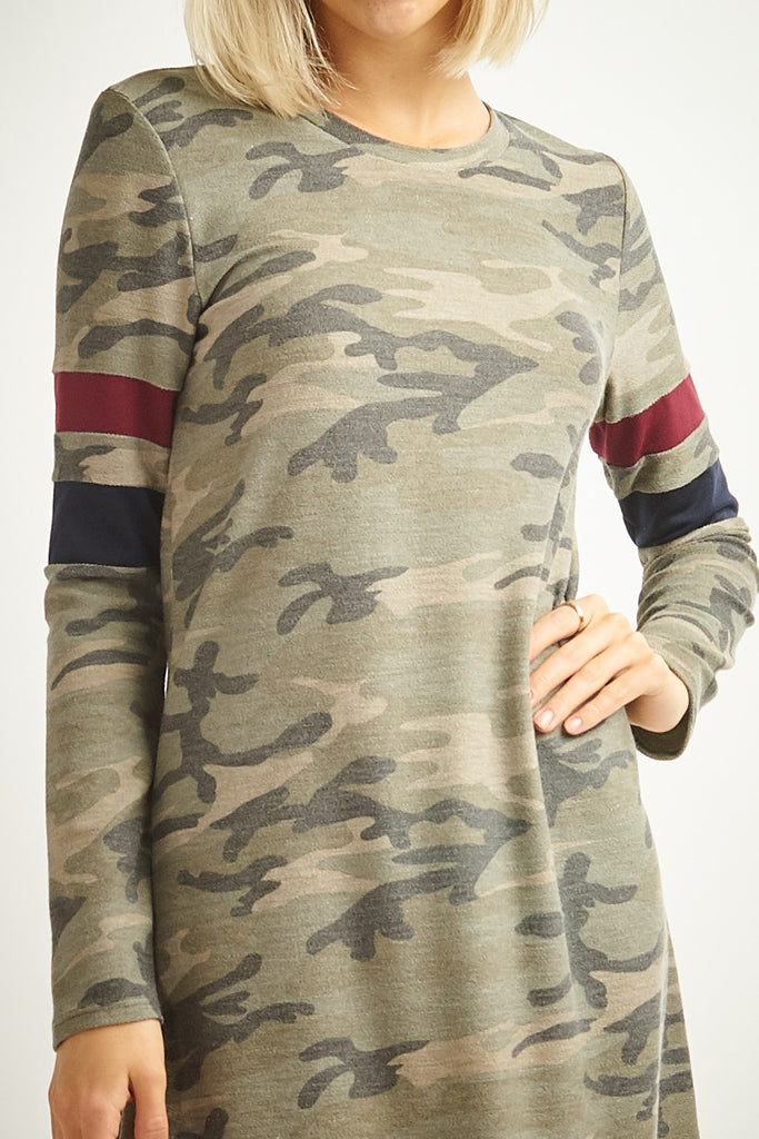 Camo Dress Striped Sleeves