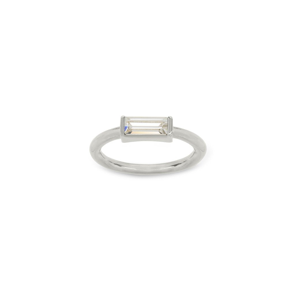 Luca & Danni Mini Hudson Ring in Crystal - Silver