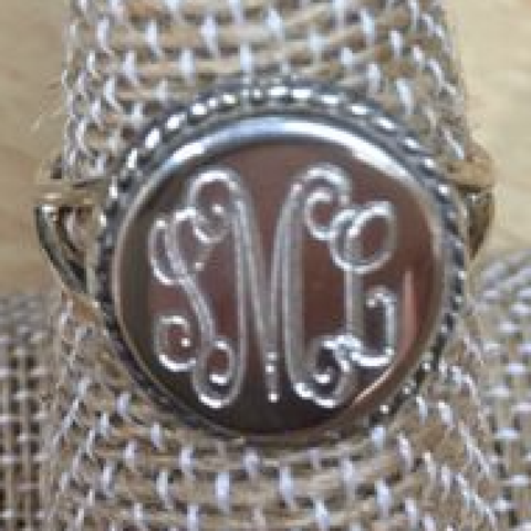 Circle Rope Engraved Ring Sterling Silver